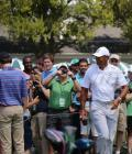 Tiger on the putting green Tuesday @ Augusta