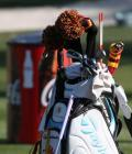 Belen Mozo with new TaylorMade R11 staff bag
